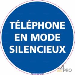 Panneau rond Téléphone en mode silencieux