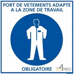 Panneau carré Port de vêtements adaptés à la zone de travail obligatoire