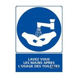 Panneau vertical Lavez-vous les mains après l'usage des toilettes