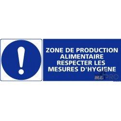 Panneau rectangulaire Zone de production alimentaire, respecter les mesures hygiène