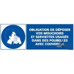 Panneau rectangulaire Dépôt obligatoire dans poubelle avec couvercle 1