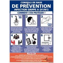 Panneau rectangulaire Conseils préventions grippe A