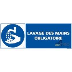 Panneau rectangulaire Lavage des mains obligatoire + pictogramme
