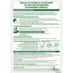 Panneau rectangulaire Règle hygiène et de sécurité pandémie grippale