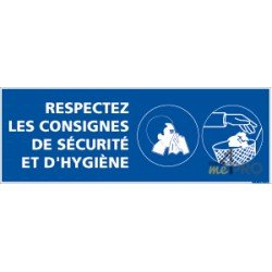 Panneau rectangulaire Respectez les consignes de sécurité et hygiène 2