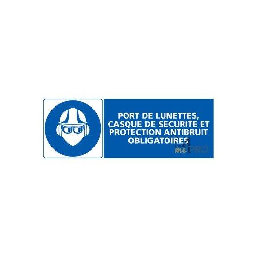 Panneau rectangulaire Port de lunettes, casque de sécurité et protection  antibruit obligatoires f8ccdcd896b8