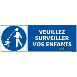 Panneau rectangulaire Veuillez surveiller vos enfants