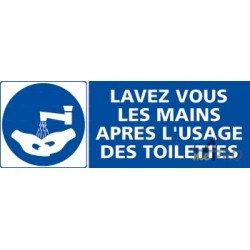 Panneau rectangulaire Lavez-vous les mains après l'usage des toilettes