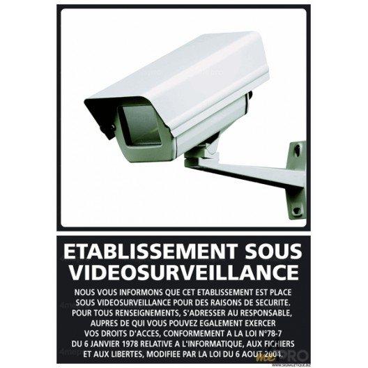 panneau de signalisation etablissement sous video surveillance. Black Bedroom Furniture Sets. Home Design Ideas