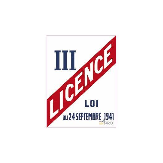 Panneau rectangulaire Licence III