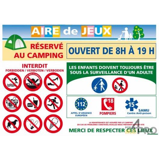 Panneau rectangulaire Consignes aire de jeux réservé au camping