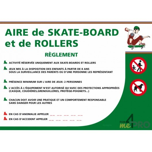 Panneau rectangle Consignes aire de skate-board et de rollers