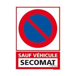 """Panneau vertical Stationnement interdit Sauf véhicule : """"plaque immatriculation"""""""