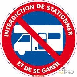 Panneau Interdiction de stationner et de se garer - caravane
