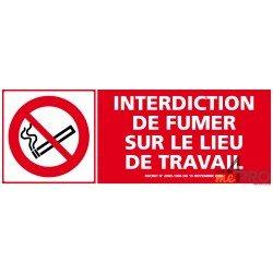 panneau de signalisation rectangulaire horizontal interdiction de fumer sur le lieu de travail. Black Bedroom Furniture Sets. Home Design Ideas