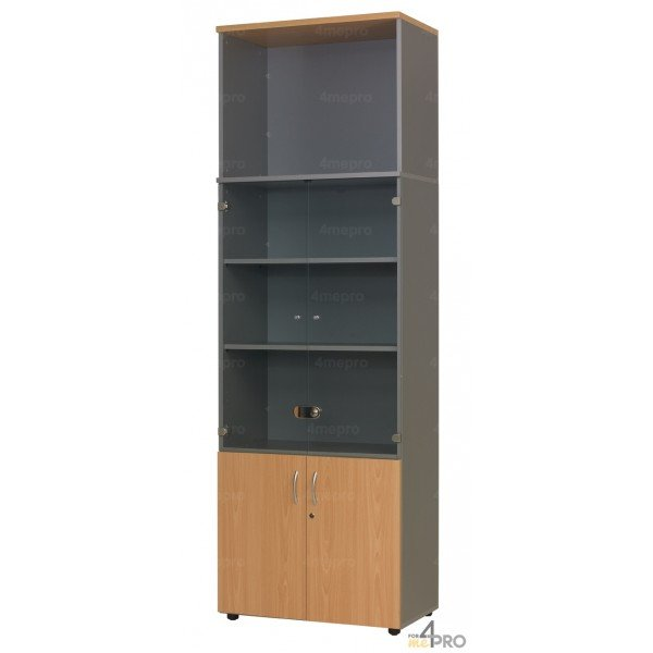 biblioth que portes basses portes en verre 2 45mx80cmx47cm. Black Bedroom Furniture Sets. Home Design Ideas