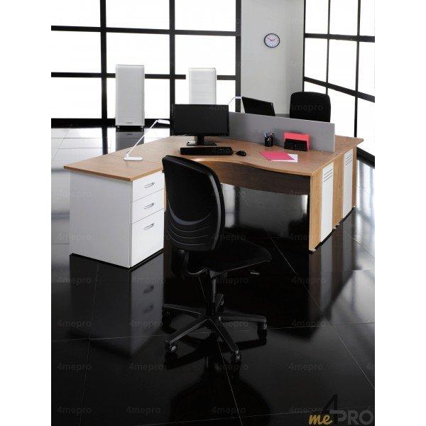 bureau compact manager retour gauche dual 2m pieds panneau. Black Bedroom Furniture Sets. Home Design Ideas