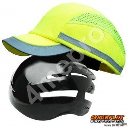 Casquette de protection Toutes saisons jaune fluo + bandes grises réfléchissantes NF EN812 A1