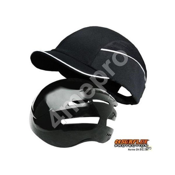 Casquette de protection top short noir nf en812 a1 4mepro for Nf en 13384 1