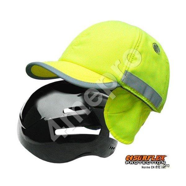 casquette de protection hiver jaune fluo bandes r fl chissantes. Black Bedroom Furniture Sets. Home Design Ideas