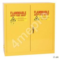 Armoire de sécurité 113 L jaune pour produits inflammables avec portes à fermeture automatique
