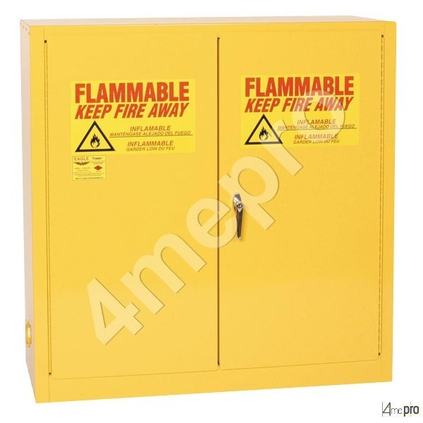 4mepro-armoire De Sécurité 226 L Jaune Pour Produits Inflammables Avec Portes à Fermeture Automatique