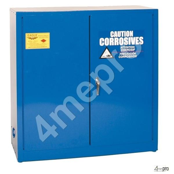 4mepro-armoire De Sécurité 113 L Bleue Pour Acides Et Produits Corrosifs Avec Portes à Fermeture Automatique
