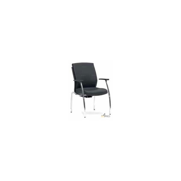 4mepro-fauteuil Visiteur Bodhi Cuir Noir 4 Pieds Chromés