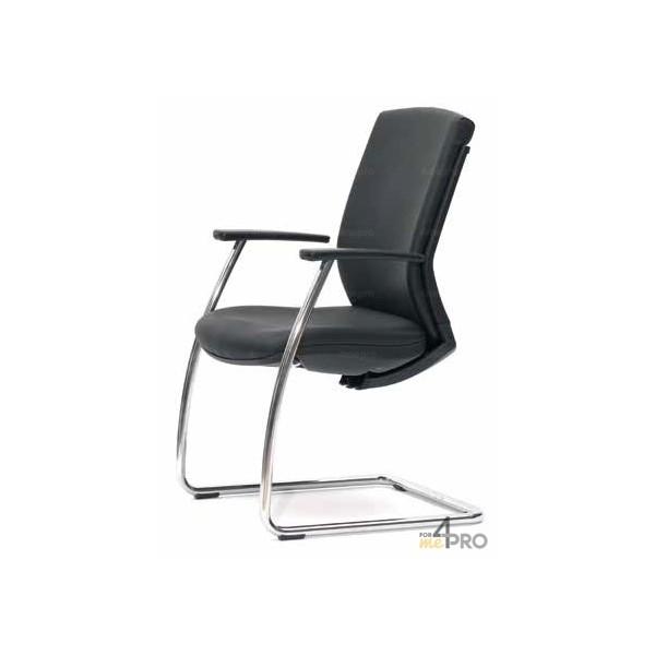 4mepro-fauteuil Visiteur Bodhi Cuir Noir Pieds Luge