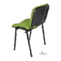 Chaise visiteur tissu DS10 sans accoudoir pieds noir