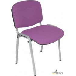 Chaise visiteur tissu DS20 sans accoudoir pieds gris alu