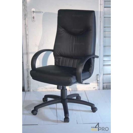 fauteuil de direction basculant central en cuir noir lx 2000. Black Bedroom Furniture Sets. Home Design Ideas