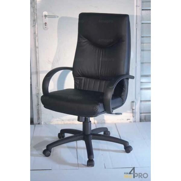 4mepro-fauteuil De Direction Basculant Central En Cuir Noir Lx 2000
