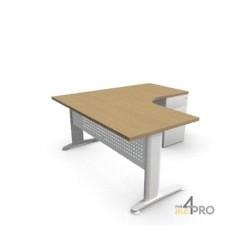 Plan compact 90° Symétrique 160 x 160 cm avec caisson porteur 3 tiroirs Star
