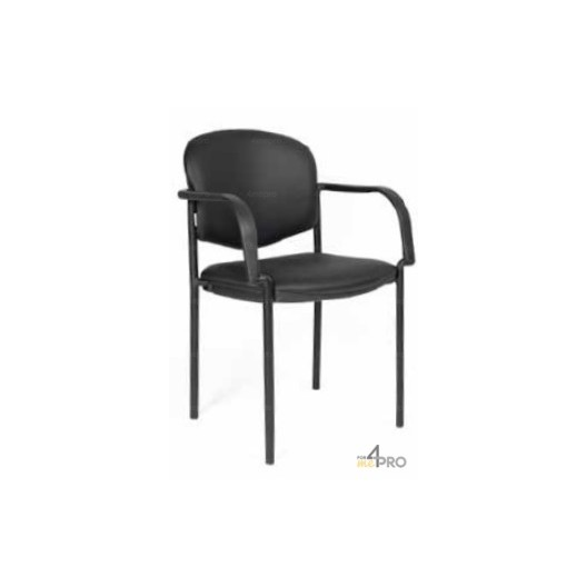 Chaise visiteur en cuir noir avec accoudoirs 4mepro - Chaise visiteur avec accoudoirs ...