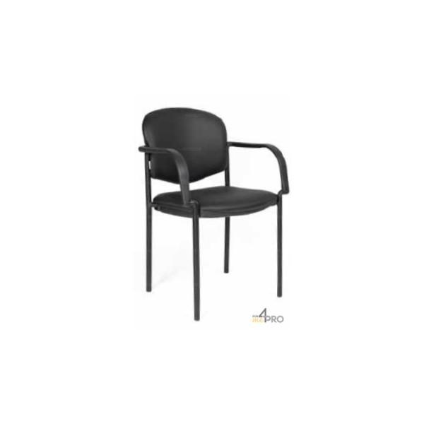 4mepro-chaise Visiteur En Cuir Noir Avec Accoudoirs