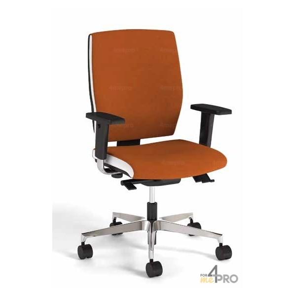4mepro-fauteuil De Bureau Synchrone Plus Avec Dossier Haut + Pieds Alu Poli + Accoudoirs Réglables Square Bicolore Blanc