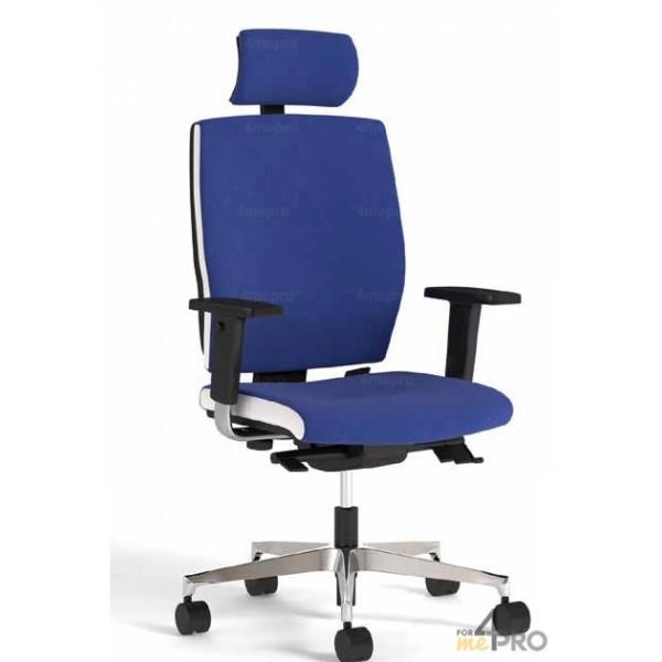 4mepro-fauteuil De Bureau Synchrone Plus Avec Dossier Haut + Pieds Alu Poli + Accoudoirs Réglables + Têtière Square Bicolore Blanc