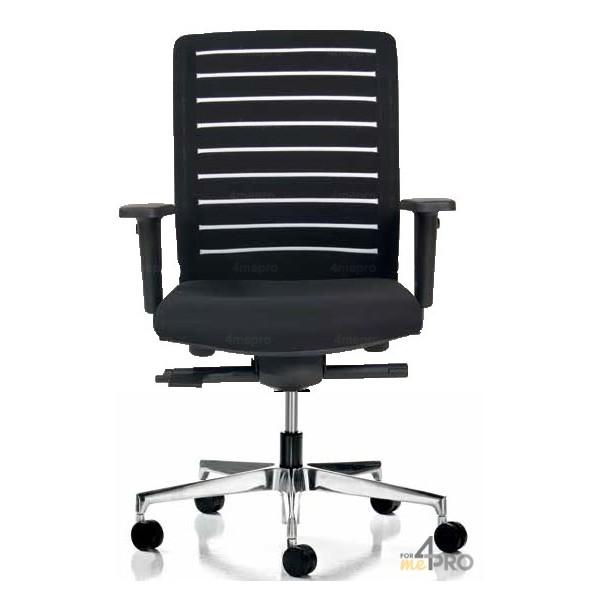 fauteuil de bureau synchrone dossier ray blanc pieds noirs. Black Bedroom Furniture Sets. Home Design Ideas