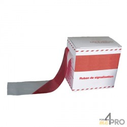 Ruban de signalisation ultra costaud en boite distributrice rouge et blanc 200 m