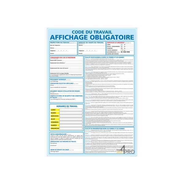 Panneau code du travail affichage obligatoire - 4mepro