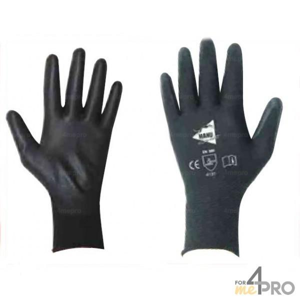 6ec0ec051059d ... Gants de Précision pour manutention fine - polyuréthane noir sur  support nylon noir - norme EN