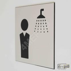 """Plaque de porte """"douche homme"""" Pictogramme"""