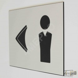 """Plaque de porte """"toilettes hommes à gauche"""" Pictogramme"""
