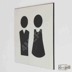 """Plaque de porte """"toilettes mixtes"""" Pictogramme"""