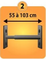Grilles de défense télescopique 1 barreau pour fenêtre de 55 à 103 cm de large