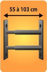 Grilles de défense télescopique 2 barreaux pour fenêtre de 55 à 103 cm de large