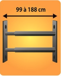 Grilles de défense télescopique 2 barreaux pour fenêtre de 99 à 188 cm de large