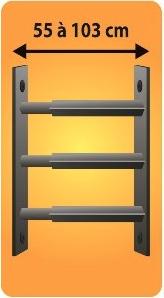 Grilles de défense télescopique 3 barreaux pour fenêtre de 55 à 103 cm de large