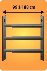 Grilles de défense télescopique 3 barreaux pour fenêtre de 99 à 188 cm de large